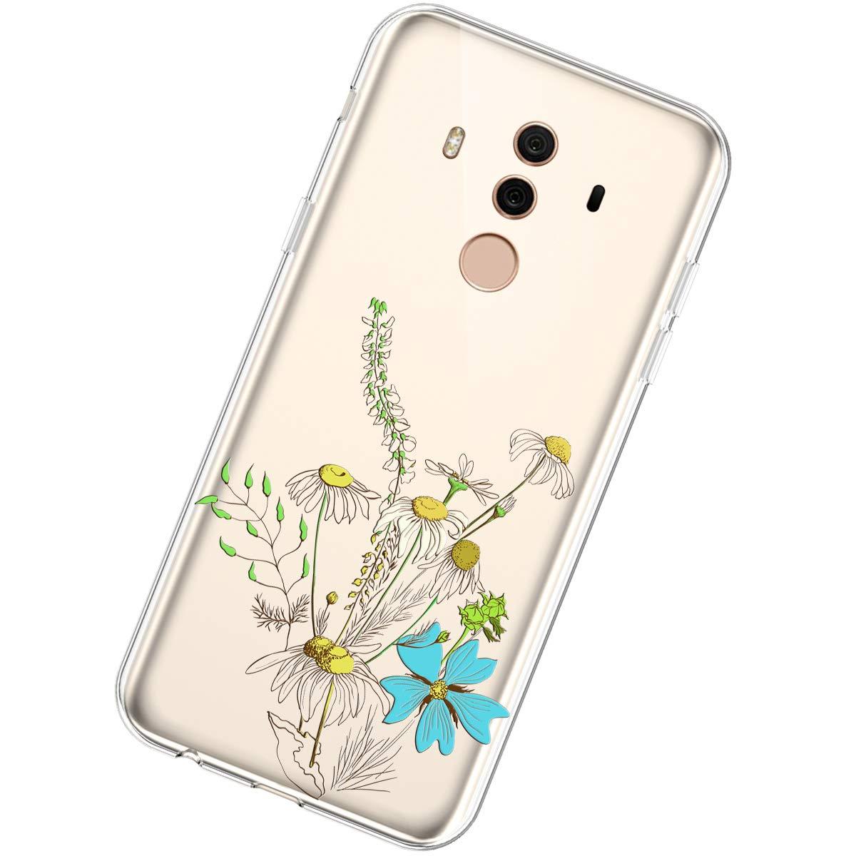 Coque Compatible avec Huawei Mate 10 Pro,/Étui Housse Transparent Cr/éatif Fleur Motif Clair Design Souple TPU Silicone Ultra Mince Poids l/éger Anti Choc Crystal Gel Soft Slim Flexible Bumper Case,#26