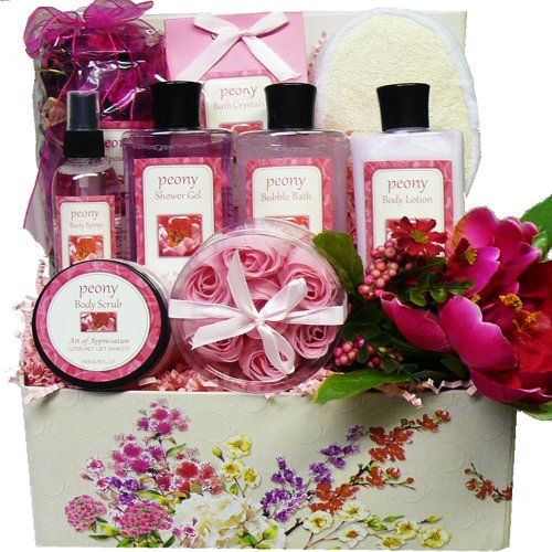 Art of Appreciation Gift Baskets   Peony Pleasures Spa Bath and Body Care Package Set