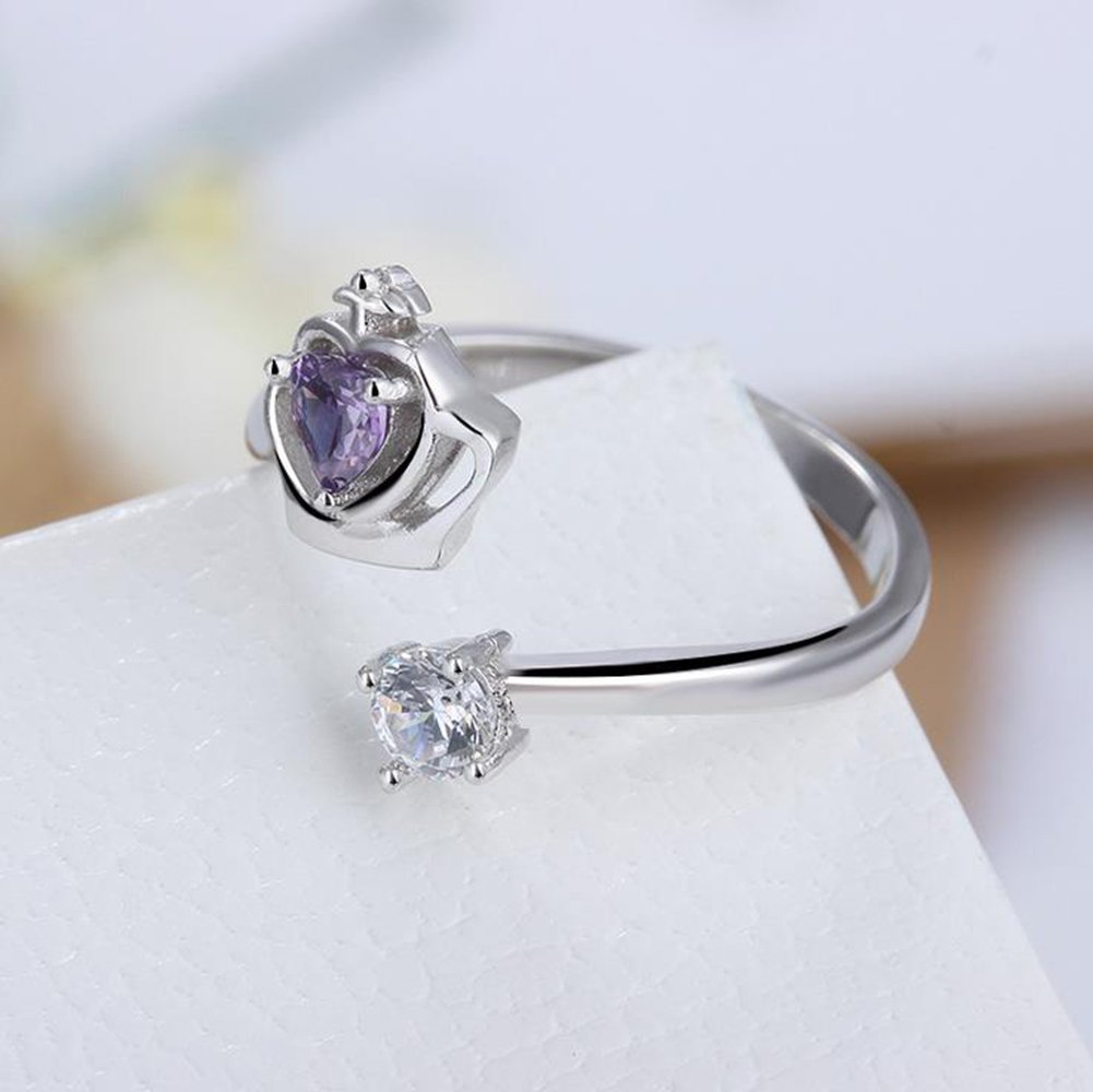Lega 1 Silver Anello corona Xuxuou creativo alla moda anello di apertura regolabile femminile diamante artificiale diamante femminile dito ornamento