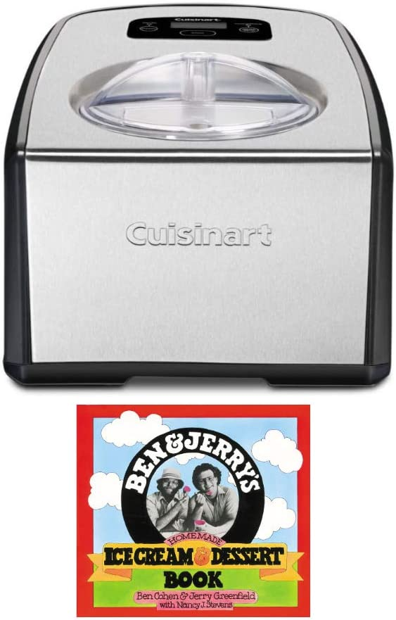 Cuisinart ICE-70 Electronic Ice Cream Maker 2 Items Brushed Chrome,with Homemade Ice Cream /& Dessert Book Bundle