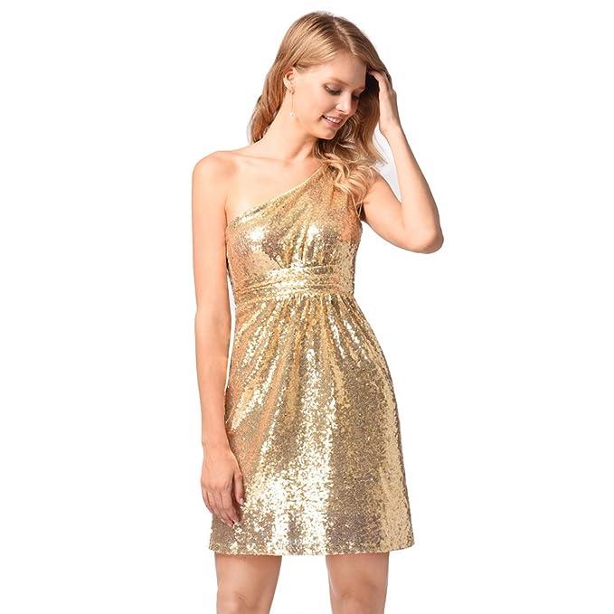 antaina Lentejuelas de Brillo Dorado Un Hombro Cóctel Fiesta de Baile Dulce Mini Vestido de Mujer