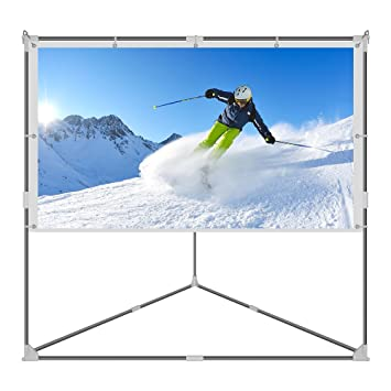 JaeilPLM 80 Inch Wrinkle Free Portable Outdoor Projection Screen + Setup  Stand + Transportable Bag