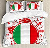 Lunarable Italian Flag King Size Duvet Cover Set by, Soccer Player Pizza Ice Cream Silhouette National Culture Doodle, Decorative 3 Piece Bedding Set with 2 Pillow Shams, Vermilion Green White