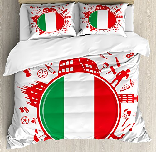 Lunarable Italian Flag King Size Duvet Cover Set by, Soccer Player Pizza Ice Cream Silhouette National Culture Doodle, Decorative 3 Piece Bedding Set with 2 Pillow Shams, Vermilion Green White by Lunarable
