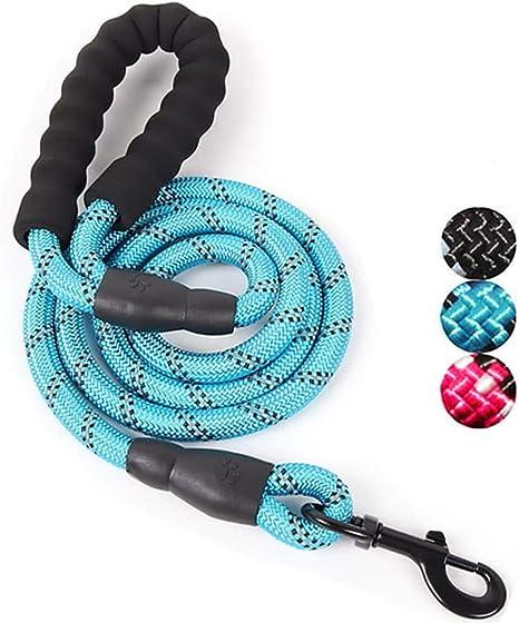 Correa de cuerda para perro con mango acolchado suave e hilos reflectantes de nailon duradero, correa de seguridad para perro de 1,5 m, cuerda de ...