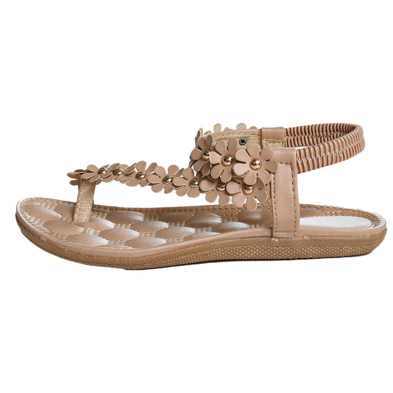 Damen Sandalen, Dasongff Frauen Elastischen Sandalen Bouml;hmen Blume Perlen Flip-Flop Schuhe Flachen Sandalen T-Strap Freizeitschuhe Geflochten Strand Schuhe Sommer  40|Khaki -B