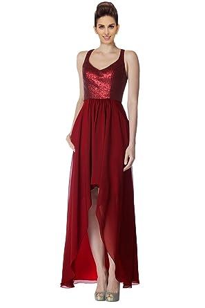 Fanny Womens High Low Prom Dress Cheap Sequined Chiffon Spaghetti Sweetheart Zipper Bridesmaid Dress Long For