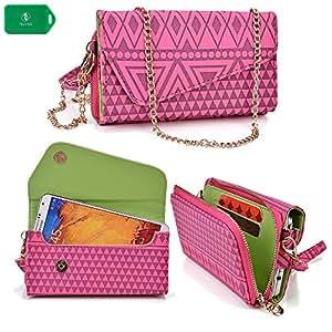 Samsung Galaxy Note III | Ladies smartphone holder plus wallet w/ crossbody chain| blush pink design|universal