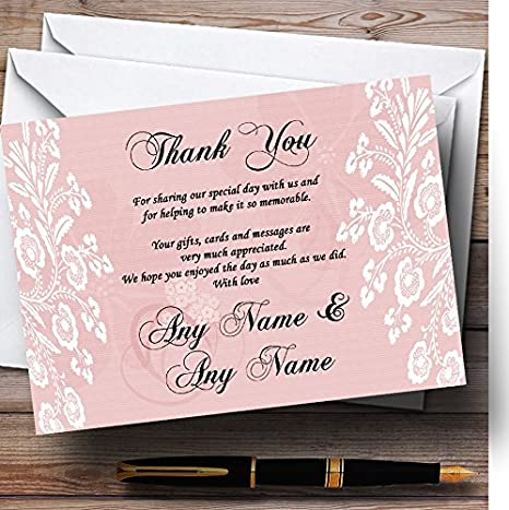 Vintage Lace Coral Pink Chic Personalized Wedding Thank You Cards