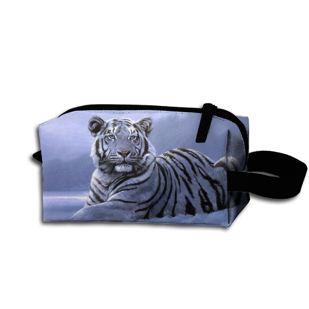 Makeup Cosmetic Bag Animals Snow Tiger Zip Travel Portable Storage Pouch For Men Women by Alone