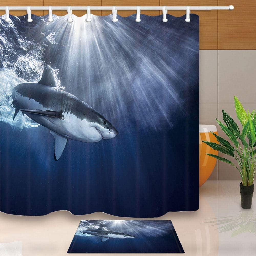 shidk Cortina de baño de tiburón Cortina de baño de tiburón de mar Tela de poliéster Moho Impermeable con mampara de baño con gancho-B-7037_W165xH180cm Cortina: Amazon.es: Hogar