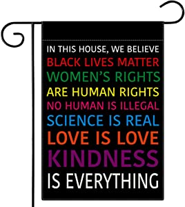 Dsweesun in This House We Believe Garden Flag, Black Lives Matter Flag Double Sided 12.5 x 18 Inch, in This House We Believe Yard Sign Yard Outdoor Decoration