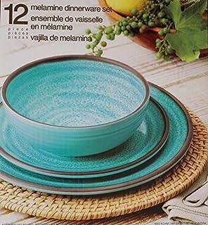 Melamine Dinnerware 12 Piece Set - Turquoise & Amazon.com | Melamine 18-PC dinnerware Set Teal Mother of Pearl ...