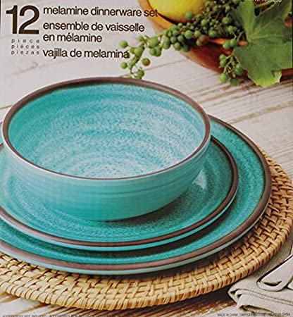 Melamine Dinnerware 12 Piece Set - Turquoise & Amazon.com | Melamine Dinnerware 12 Piece Set - Turquoise ...