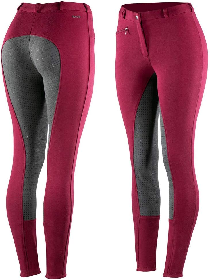 Horze Womens Active Silicone Grip Full Seat Riding Breeches With Zipper Pockets And Elastic Leg Bottom