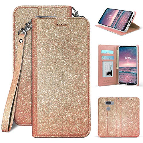 LG V30, LG V30 Plus, V30S, V35 2017 (Sprint, Verizon, T-Mobile etc) Premium Luxury Sparkle Bling Glitter Folio Credit Card Slot Wallet + Wrist Strap & Magnetic Closure [Free Emoji Plush!] (Rose Gold) 610tqCmVRTL   610tqCmVRTL
