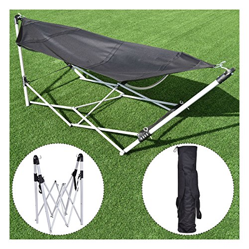 Black Portable Folding Hammock Beach Lounge Camping Bed Steel Frame Stand w/ Bag - 264lbs Capacity (Central Furniture Oxford)