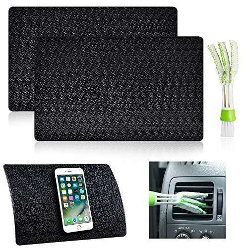 AFUNTA 2 Pcs Car Dashboard Premium Anti-Slip Gel Mat with Mini Duster, 11″ x 7″ Ripple Non-slip Dash Grip Sticky Pads for Cell Phone Sunglasses Key Coin – Black