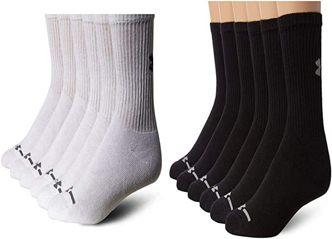 Under Armour Charged Cotton 2.0-6-Pair Quarter Crew Socks Large White 2041