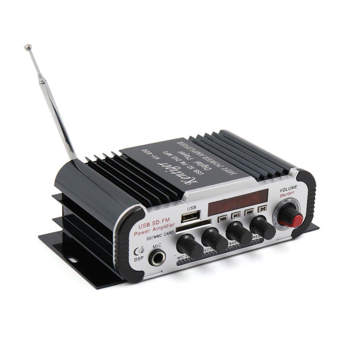 Amazon.com: DealMux DC 12V USB SD FM Hi-Fi Amplificador de áudio estéreo Poder w controle remoto para carro: Car Electronics
