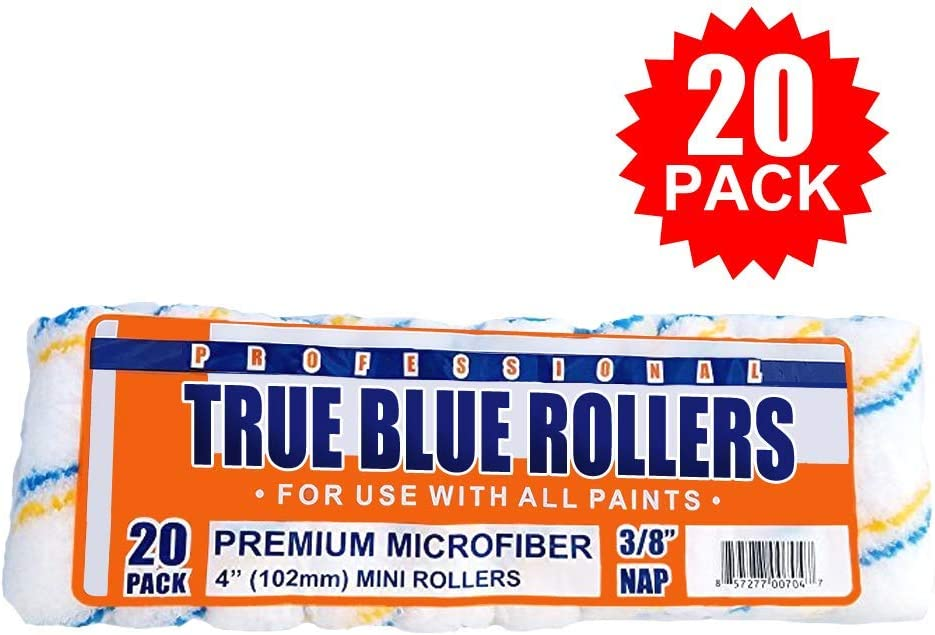 "True Blue Professional Paint Roller Covers, Best for All Types of Paint (20, 4"" x 3/8"")"