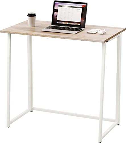 Dripex Folding Desk Computer Desk No Assembly Required Home Office Desk Folding Hobby Craft Table Oak