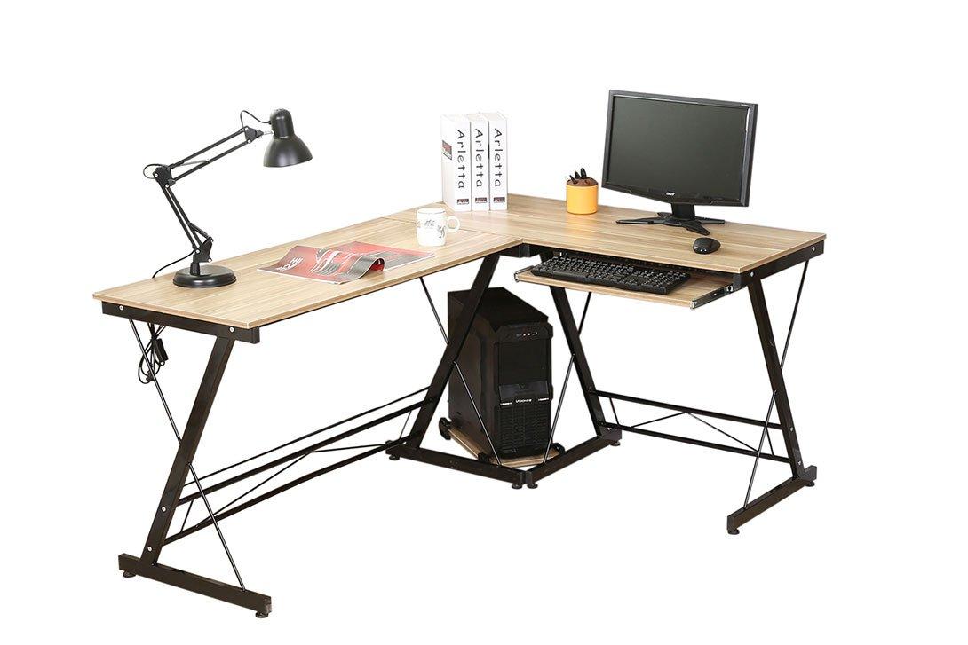 HLC L-Form 161  120  73CM Eckschreibtisch Schreibtisch Computertisch Bürotisch mit Tastaturauszug aus Holz Gelb