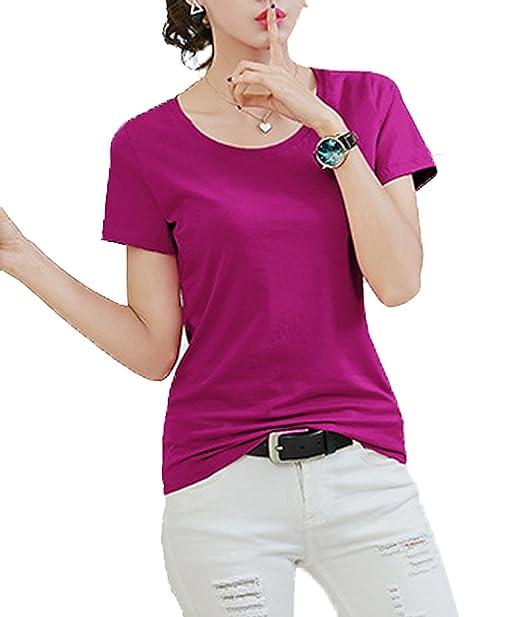 ee3b95e3c Jinglive Mujer Cuello Redondo Manga Corta Camisetas Blusa Tops Slim Colores  Lisos Remata Camisas T-Shirt