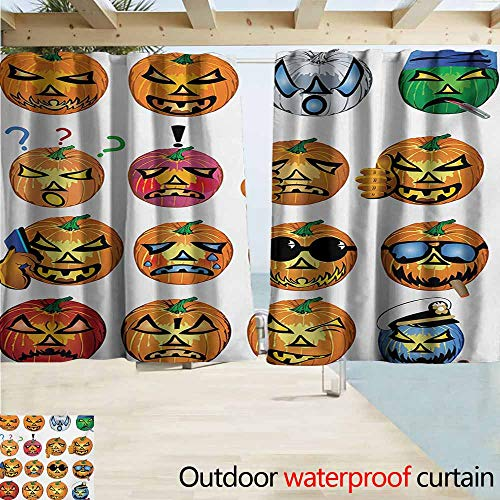 AndyTours Rod Pocket Curtains,Halloween Carved Pumpkin with Emoji Faces Halloween Inspired Humor Hipster Monsters Artwork,Rod Pocket Energy Efficient Thermal Insulated,W55x45L Inches,Orange]()