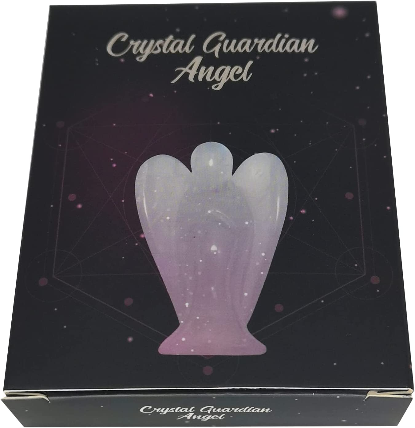 Clear Quartz or Jasper Crystal 1/½ Inch Guardian Angel with *Extra* Chakra Crystal /& Gift Box Aventurine Lapis Lazuil Amethyst Turquoise Angel Statue Figurine. Rose Quartz Angel with Tiger/'s Eye