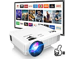 """DRJ Professional 7500Lumens Mini Projector for Outdoor Movies, Full HD 1080P 170"""" Display Supported, PS4,TV Stick, Smartphone"""