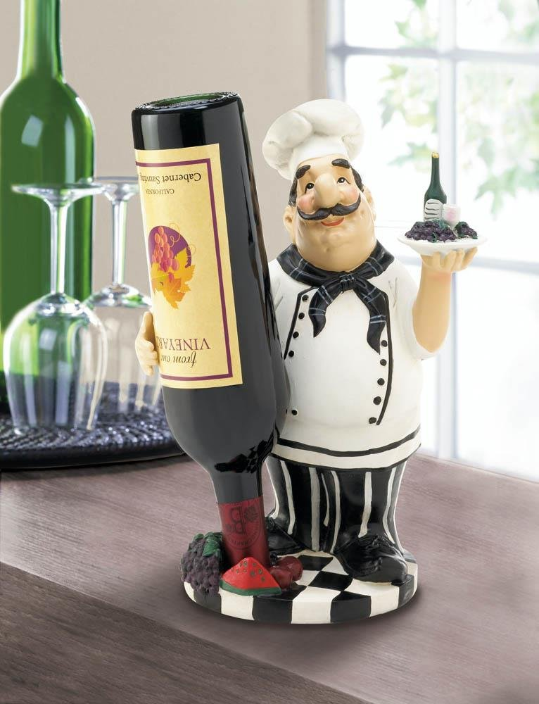 Italian Chef Tabletop Countertop Wine Bottle Holder Kitchen Decor For The Kitchen