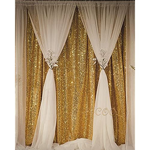B COOL Sequin Backdrop Gold 4ft X 65ft Photography Wedding Photo Booth Background For
