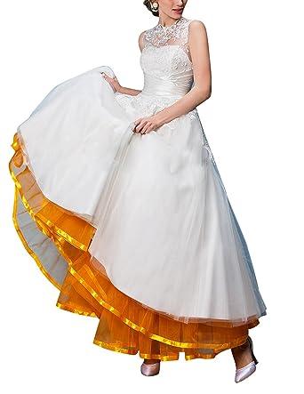DRESSTELLS Retro Ankle Length Petticoat Crinoline Underskirt for Long Dress Orange L-XL