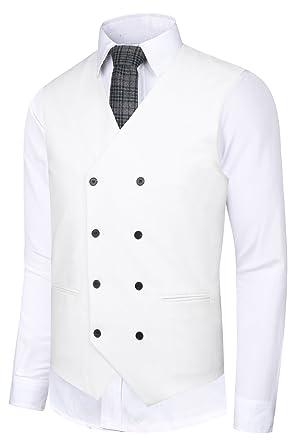 99bb6b86e13 Hanayome Men s Suit Vest Double Breasted V-Neck Solid Regular Fit Business  Waistcoat VS02-