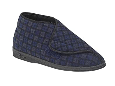 ef47d50470a Comfylux JAMES Mens Wide Fit Velcro Checked Bootee Slippers Navy   Amazon.co.uk  Shoes   Bags