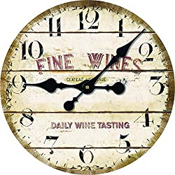 Vintage Antique Looking Style Daily Wine Tasting Middle Hanging Wall Clock Shop Pub Decor 14inch