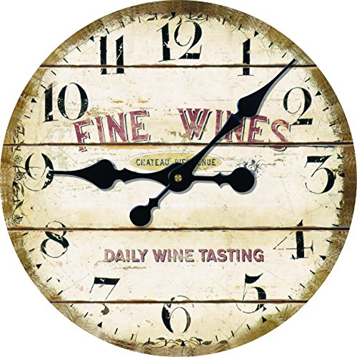 Vintage Antique Looking Style Daily Wine Tasting Middle Hanging Wall Clock Shop Pub Decor 14inch by Toright