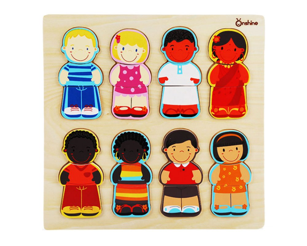 Wooden Children The World Racial Cognition Dress-up Puzzle Tray 24 Pieces Mix Match Boys Girls Jigsaw Puzzle Toddlers