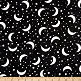 Timeless Treasures Glow in the Dark Crescent Moons and Stars Fabric by the Yard, Black