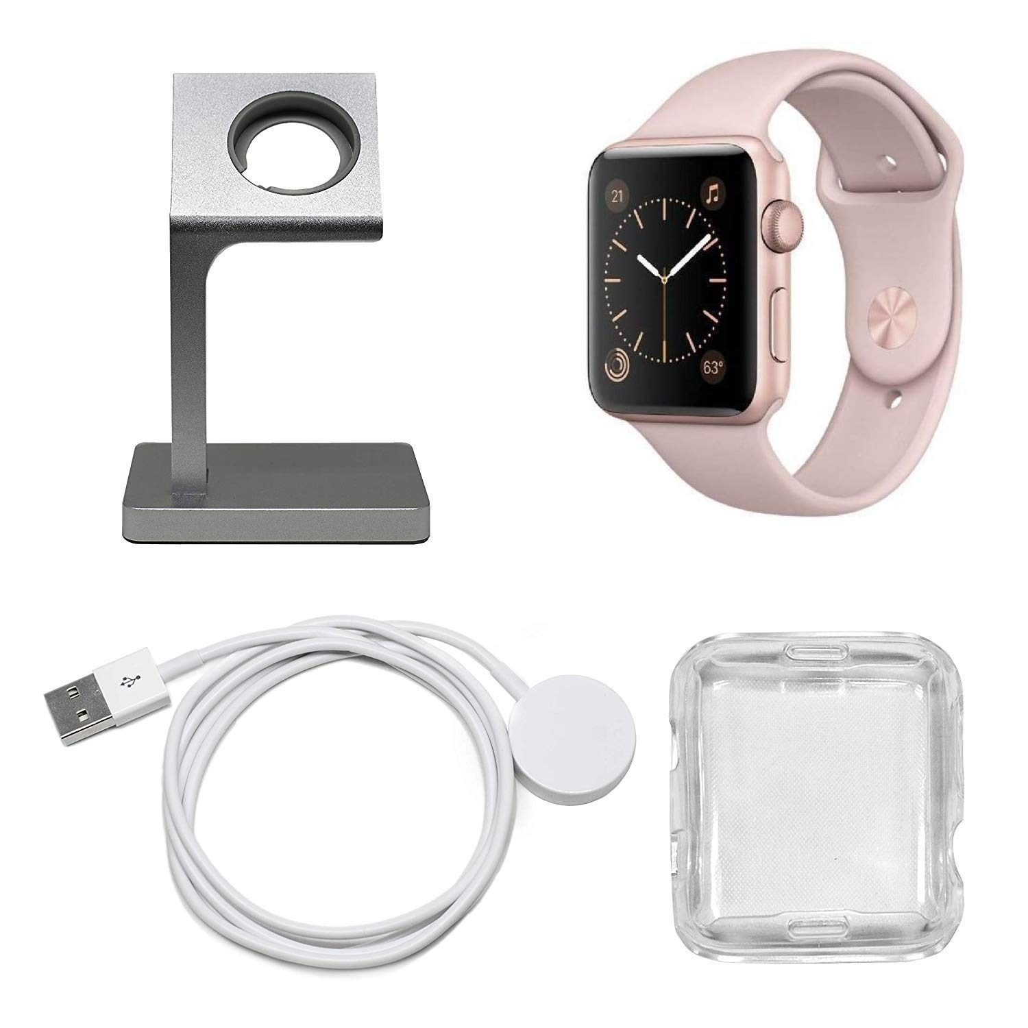 Apple Watch Series 1 Smartwatch Plus Charging Stand, Extra Charging Cable and Clear Fitted Protective Case (38mm, Rose Gold Aluminum Case, Pink Sand Sport Band) (Renewed)