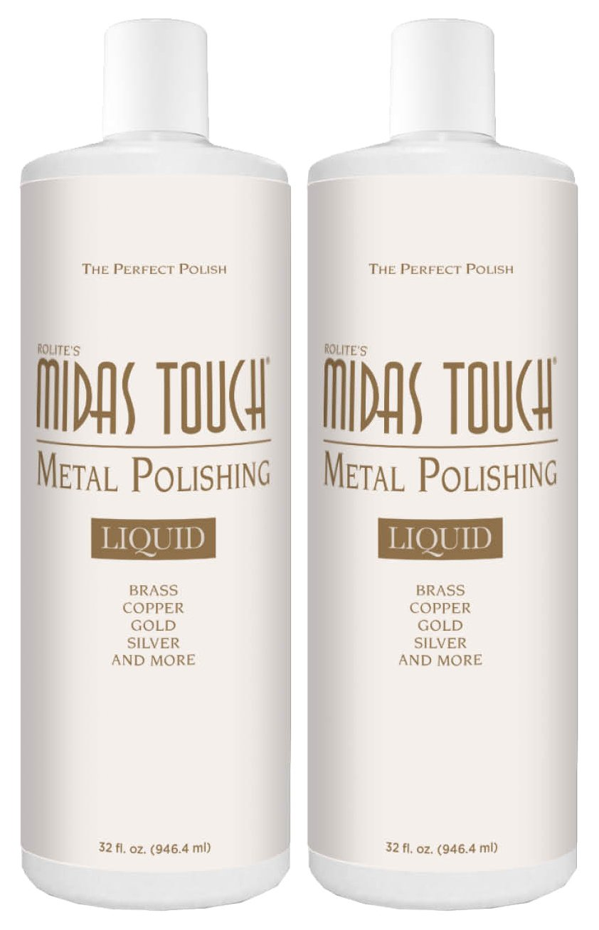 Rolite's Midas Touch Metal Polishing Liquid with Jewelers Rouge for Gold, Brass, Copper, Bronze, Platinum, Pewter, Sterling Silver