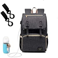 [Upgraded] Dulcii Multi-Function Waterproof Travel Backpack Diaper Bag Nappy Bags for Baby Care with Milk Bottle USB Heating Sleeve, Large Capacity, Stylish and Durable (Dark Grey)