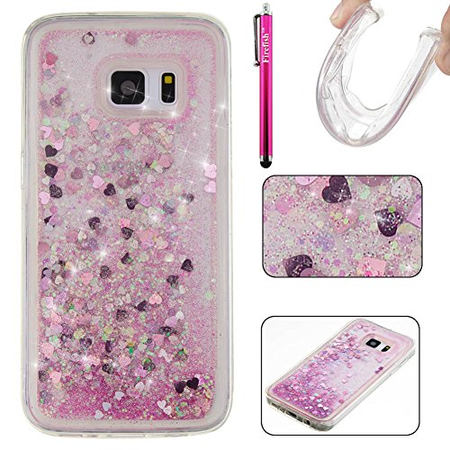 Snap Carbon Fiber Heart (Galaxy S7 Case, Firefish Bling 3D Sparkle Floating Dynamic Flowing Shockproof [Flexible] Gel Silicone [No Slip] Back Cover for Samsung Galaxy S7 -Pink)