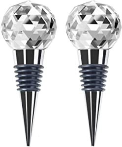 JETKONG Metal Wine and Beverage Bottle Stopper Crystal Clear, Stainless Steel Wine Stopper (Set of 2)