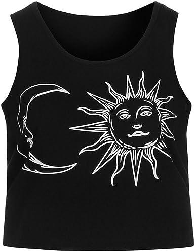 Diseño de Estampado de Sol y Luna Camisas sin Mangas de Verano de Impresión sin Mangas de impresión de la Camiseta sin Mangas Mujer De Yoga cómodo y Suave Playa Mujeres (S,