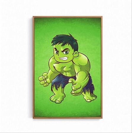 Ykbsy Mini Dessin Anime Marvel Personnage Poster Peinture Sur Toile Image Murale De Hulk De Super Heros D Impression Decoration Interieure 30x45cm Aucun Cadre Amazon Fr Cuisine Maison