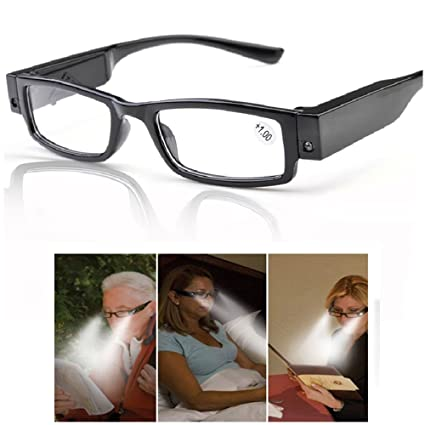 a7710abf7ddb Amazon.com: Bright Lighted Readers Nigthtime LED Reading Glasses with Light  for Men Women Reading in Dark Night, Black Frame, Lightweight (2.0): Home  ...