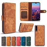 Scheam , Huawei P20 Case Wallet Leather, Huawei P20 Case Card Holder Kickstand, Huawei P20 Wallet Case Flip, Flip Case Cover Huawei P20 Brown