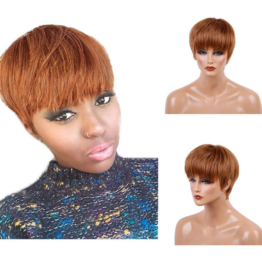 RedBrowm Fashion Natural Women Short Brown Straight Hair Wigs Female Human Hair Wigs